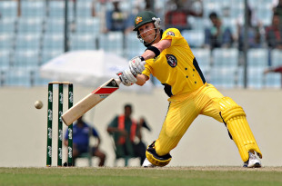 Michael Clarke crunches the ball through the off side during his 101, Bangladesh v Australia, 1st ODI, Mirpur, April 9, 2011