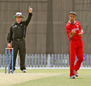 Asif Khan grabs a wicket for Hong Kong against Bermuda at the ICC World Cricket League Division 2 in Dubai on 9th April 2011