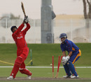 Adil Mehmood is bowled against Namibia XI in a WCL2 warm-up game at the Emirates Sevens ground at Dubai on 5th April 2011