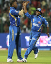 Kieron Pollard and Ambati Rayudu celebrate the dismissal of Virat Kohli, Royal Challengers Bangalore v Mumbai Indians, IPL 2011, Bangalore, April 12, 2011
