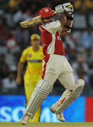 Paul Valthaty powers the ball through the off side, Kings XI Punjab v Chennai Super Kings, IPL 2011, Mohali, April 13, 2011