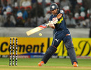 Bharat Chipli cuts through the off side during his brisk innings, Deccan Chargers v Royal Challengers Bangalore, IPL 2011, Hyderabad, April 14, 2011