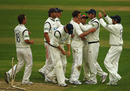 Friedel de Wet is congratulated after bowling Nottinghamshire's Alex Hales, Nottinghamshire v Hampshire, County Championship, Nottingham, April 15, 2011