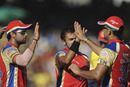 Ryan Ninan is congratulated by team-mates after dismissing M Vijay, Chennai Super Kings v Royal Challengers Bangalore, Chennai, April 16, 2011