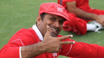 A delighted Hong Kong skipper Najeeb Amar after learning that Hong Kong had secured a top four placing at the ICC Word Cricket League Division 2 in Dubai