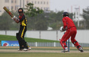 Jason Kila is caught behind during the 3rd/4th Play-off match at the ICC WCL2 in Dubai