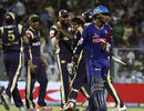 Abhishek Raut walks off after being run out, Kolkata Knight Riders v Rajasthan Royals, Kolkata, April 17, 2011