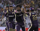 L Balaji is congratulated by team-mates after getting Shane Watson