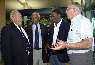 Gerry Alexander, Lance Gibbs, Chester Watson and Jackie Hendriks in Brisbane for the 40-year reunion of the tied Test