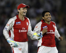 Adam Gilchrist and Bhargav Bhatt celebrate the dismissal of Ashok Menaria, Kings XI Punjab v Rajasthan Royals, IPL 2011, Mohali, April 21, 2011