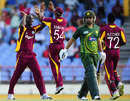 Darren Sammy celebrates the fall of a wicket, West Indies v Pakistan, Only Twenty20, St Lucia, April 21, 2010