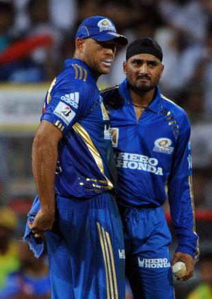 Andrew Symonds and Harbhajan Singh have a chat, Mumbai Indians v Chennai Super Kings, IPL 2011, Mumbai, April 22, 2011