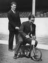 The Compton brothers, Leslie and Denis (on the tricycle), at Highbury, London, April 28, 1950