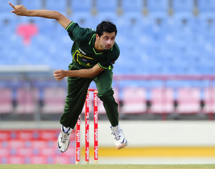 The debutant Pakistan seamer Junaid Khan runs in to bowl, West Indies v Pakistan, 1st ODI, St Lucia, April 23, 2011