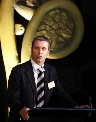 New Zealand Cricket chief executive Justin Vaughan speaks at the launch of the 2010 ICC Under-19 World Cup, Christchurch, January 10, 2010
