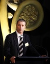 New Zealand Cricket chief executive Justin Vaughan speaks at the launch of the 2010 ICC Under-19 World Cup