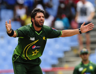 Shahid Afridi appeals for an lbw, West Indies v Pakistan, 2nd ODI, Gros Islet, April 25, 2011