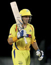 Michael Hussey acknowledges the applause for his half-century