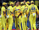 Chennai celebrate one of Albie Morkel's three wickets