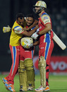 J Syed Mohammad is congratulated after he hit the winning runs, Delhi Daredevils v Royal Challengers Bangalore, IPL 2011, Delhi, April 26, 2011