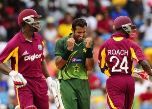 Wahab Riaz struck twice in three balls during West Indies' collapse, West Indies v Pakistan, 3rd ODI, Barbados, April 28, 2011