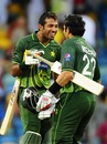 Wahab Riaz and Misbah-ul-Haq celebrate the victory