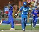 Amit Singh celebrates after disturbing Davy Jacobs' stumps