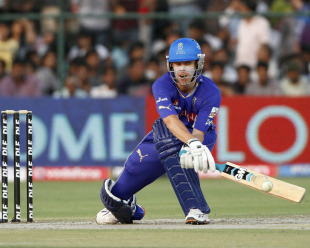 Johan Botha executes the reverse-sweep, Rajasthan Royals v Mumbai Indians, IPL 2011, Jaipur, April 29, 2011