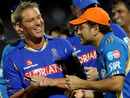 Shane Warne and Sachin Tendulkar share a light moment after the match