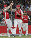 Ryan Harris is congratulated on catching Eoin Morgan, Kolkata Knight Riders v Kings XI Punjab, IPL 2011, Kolkata, April 30, 2011