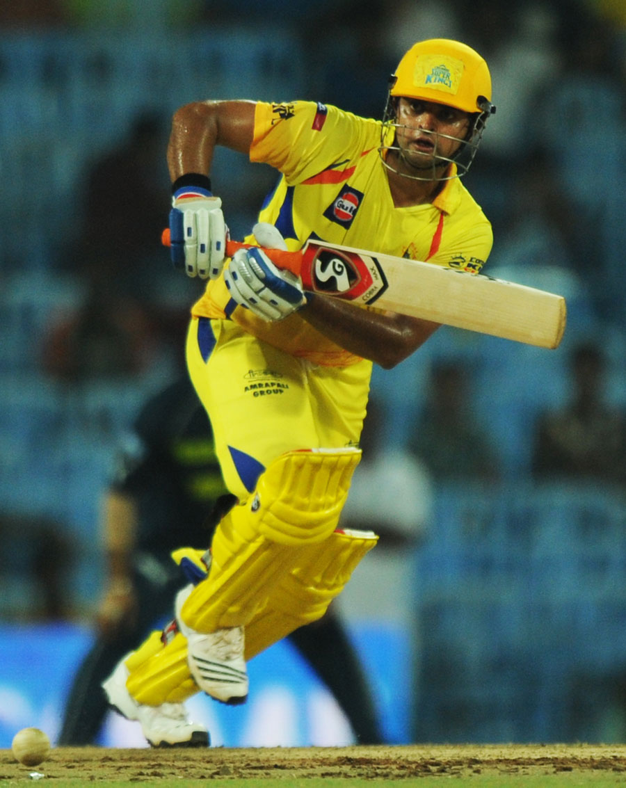 Suresh Raina works one to the leg side