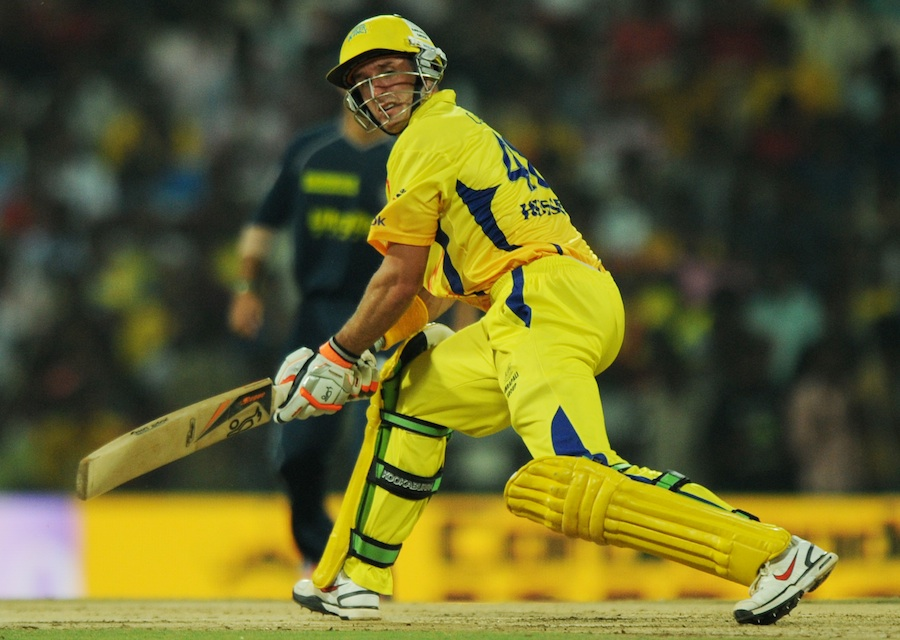 Michael Hussey plays the ball behind point