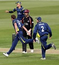 Neil Saker removed Marcus Trescothick for a duck, Unicorns v Somerset, CB40, Wormsley, May 1, 2011