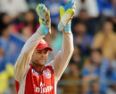 Adam Gilchrist celebrates after the wicket of Rohit Sharma
