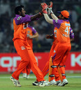 Prasanth Parameswaran celebrates his first IPL wicket