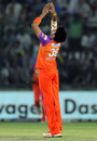 Sreesanth celebrates the wicket of David Warner
