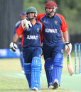 Sibtain Raza and Hisham Mirza after their match-winning stand, Norway v Kuwait, ICC World Cricket League Division Seven, Gaborone, Botswana, May 2, 2011