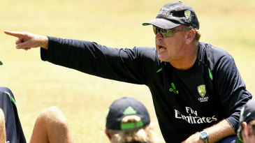 Australia's fielding coach, Mike Young, issues instructions