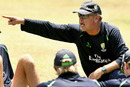 Australia's fielding coach, Mike Young, issues instructions, Grenada, April 18, 2007