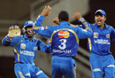 Harbhajan Singh celebrates after striking first ball, Pune Warriors v Mumbai Indians, IPL 2011, Navi Mumbai, May 4, 2011