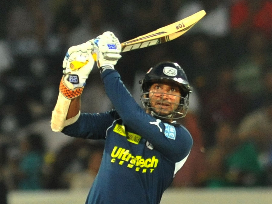 Kumar Sangakkara plays an attacking stroke | Photo | Indian Premier League | ESPNcricinfo.com