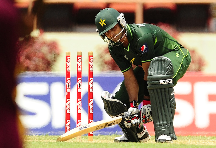 Mohammad Hafeez was bowled for 55