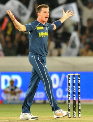 Dale Steyn exults after striking early in his spell, Deccan Chargers v Delhi Daredevils, IPL 2011, Hyderabad, May 5, 2011