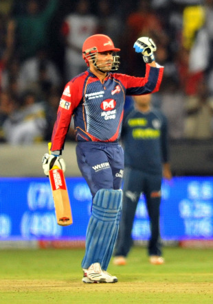 Virender Sehwag celebrates his 48-ball ton, Deccan Chargers v Delhi Daredevils, IPL 2011, Hyderabad, May 5, 2011