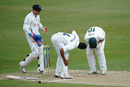 Alex Hales took a blow from Ajmal Shahzad and had to retire hurt