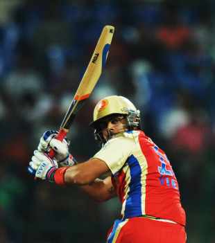 Virat Kohli glances one fine on the leg side, Royal Challengers Bangalore v Kings XI Punjab, IPL 2011, Bangalore, May 6, 2011