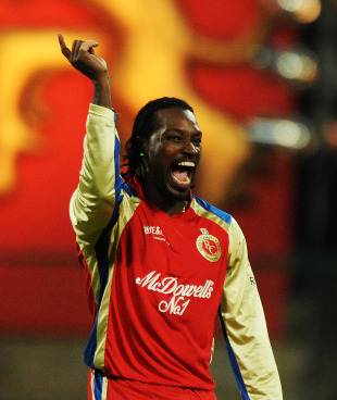 Chris Gayle is pumped after trapping Dinesh Karthik lbw, Royal Challengers Bangalore v Kings XI Punjab, IPL 2011, Bangalore, May 6, 2011