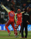 Chris Gayle and Virat Kohli celebrate Piyush Chawla's dismissal, Royal Challengers Bangalore v Kings XI Punjab, IPL 2011, Bangalore, May 6, 2011