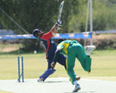Abdullah Akhunzada is bowled by Saheed Akolade, Kuwait v Nigeria , World Cricket League Division 7 Final, Gaborone, May 8, 2011