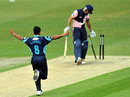 Scott Newman was bowled by Naved Arif as Middlesex lost early wickets